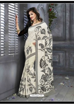 White Print Work Saree