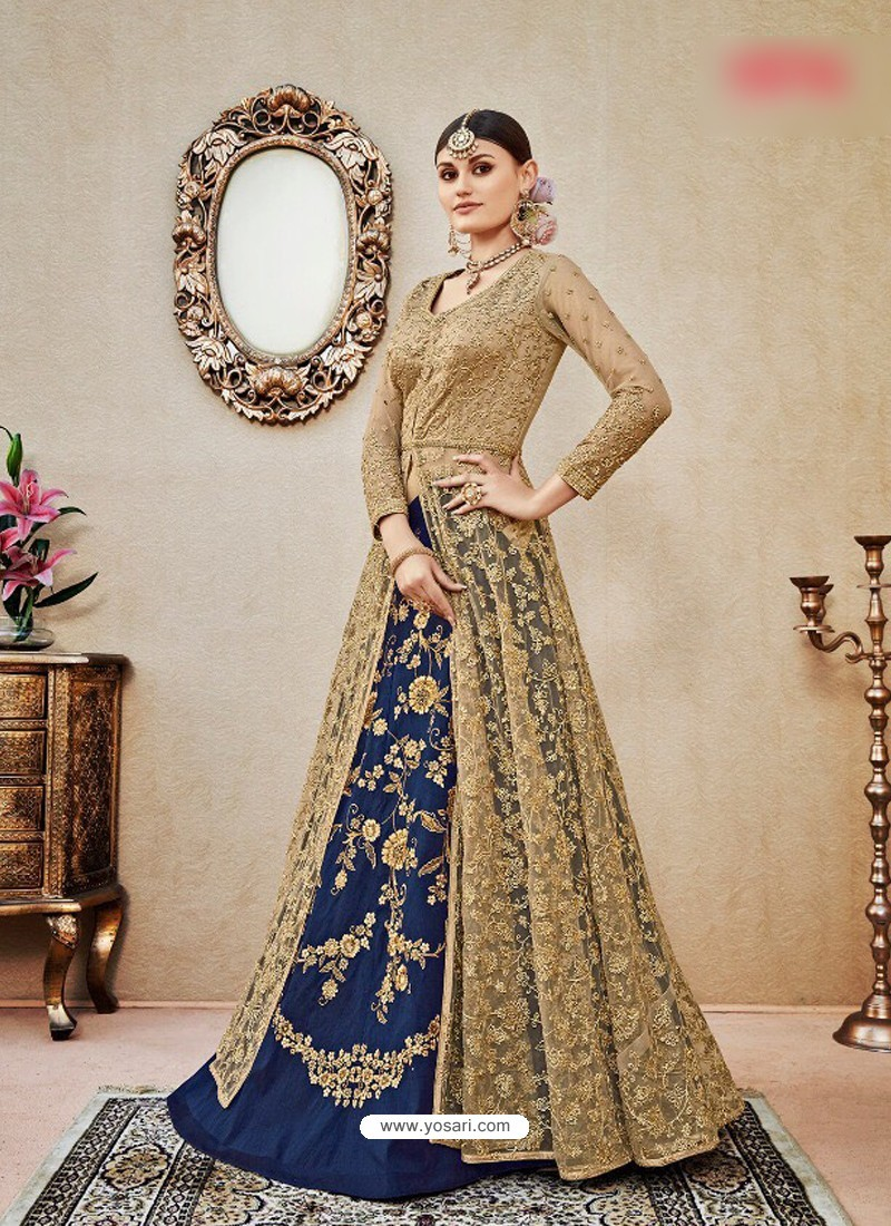 Blue Embroidered Floor Length Suit