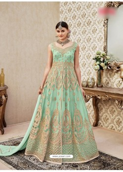 Sea Green Embroidered Floor Length Suit