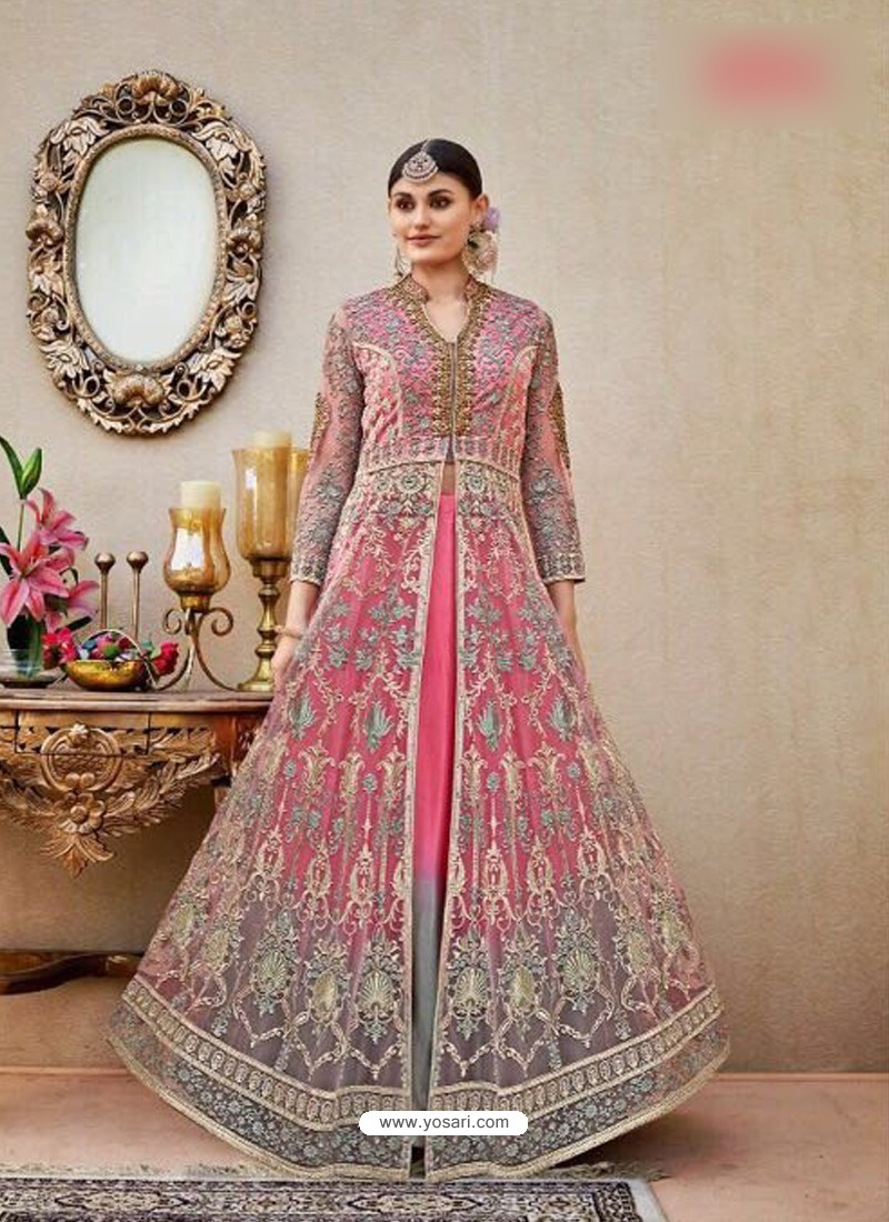 Pink Embroidered Floor Length Suit