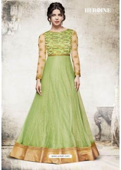Parrot Green Net Embroidered Floor Length Suit