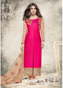 Fuchsia Georgette Embroidered Suit