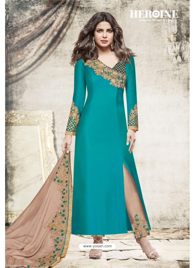 Teal Satin Embroidered Suit