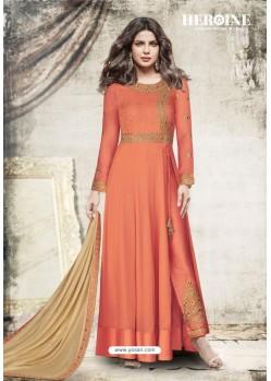 Orange Embroidered Floor Length Suit