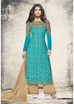 Turquoise Georgette Embroidered Suit