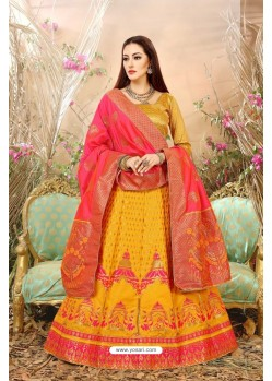 Yellow Banarasi Silk Lehenga Choli