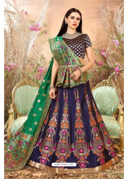 Navy Blue Banarasi Silk Lehenga Choli