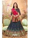 Navy Blue Banarasi Silk Lehenga Choli