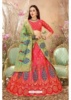 Peach Banarasi Silk Lehenga Choli