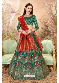 Green Banarasi Silk Lehenga Choli