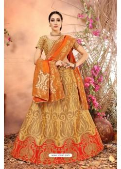 Beige Banarasi Silk Lehenga Choli
