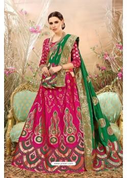 Fuchsia Banarasi Silk Lehenga Choli