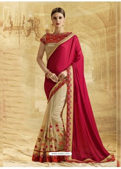 Beige Crepe Chiffon Embroidered Saree