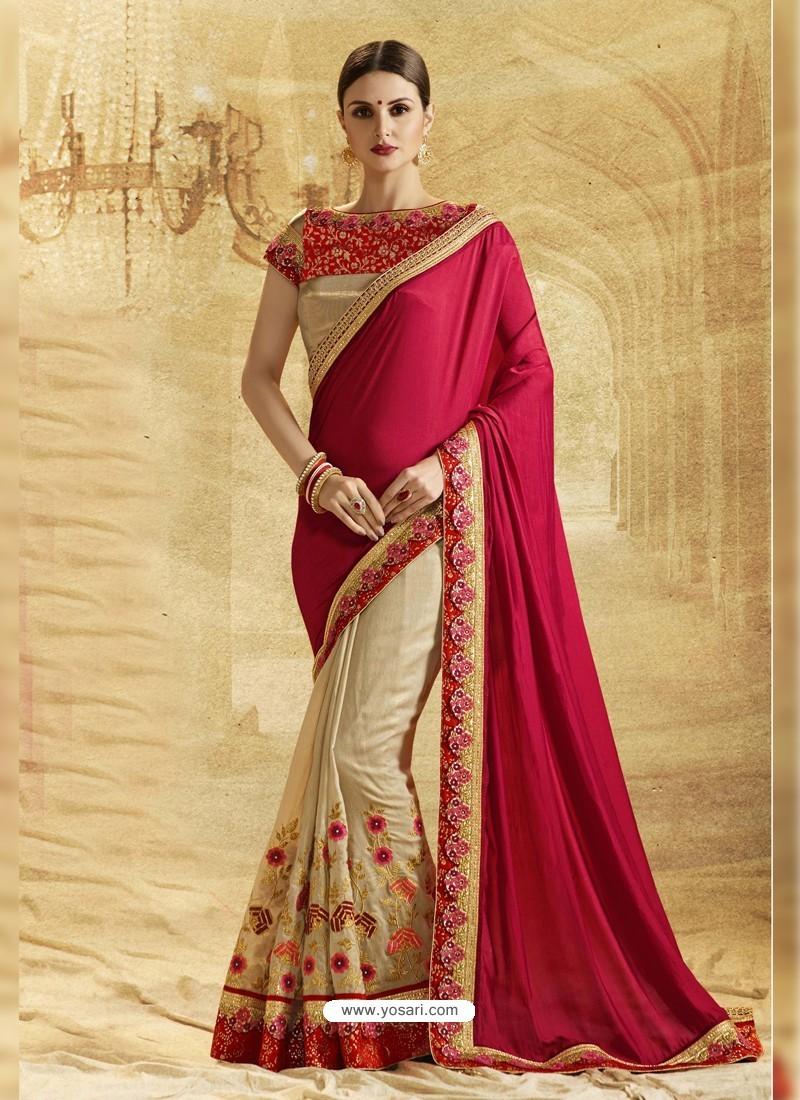 Beige Crepe Chiffon Embroidered Saree