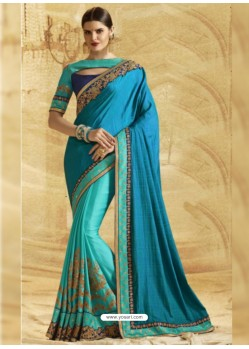Turquoise Jacquard Chiffon Silk Embroidered Saree