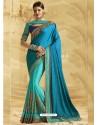 Turquoise Jacquard Chiffon Silk Embroidered Saree