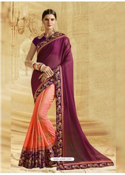 Deep Scarlet Crepe Chiffon Embroidered Saree