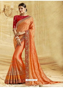 Orange Banarasi Silk Embroidered Saree