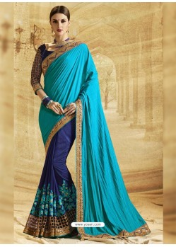 Blue Paper Jacquard Silk Embroidered Saree