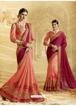 Peach Jacquard Chiffon Embroidered Saree