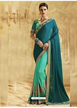 Teal Jacquard Chiffon Embroidered Saree