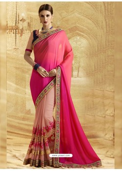 Fuchsia Georgette Embroidered Saree