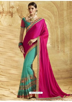 Rani Crepe Chiffon Embroidered Saree