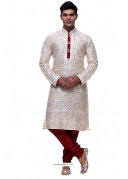 Eyeful Off White Silk Kurta Pajama