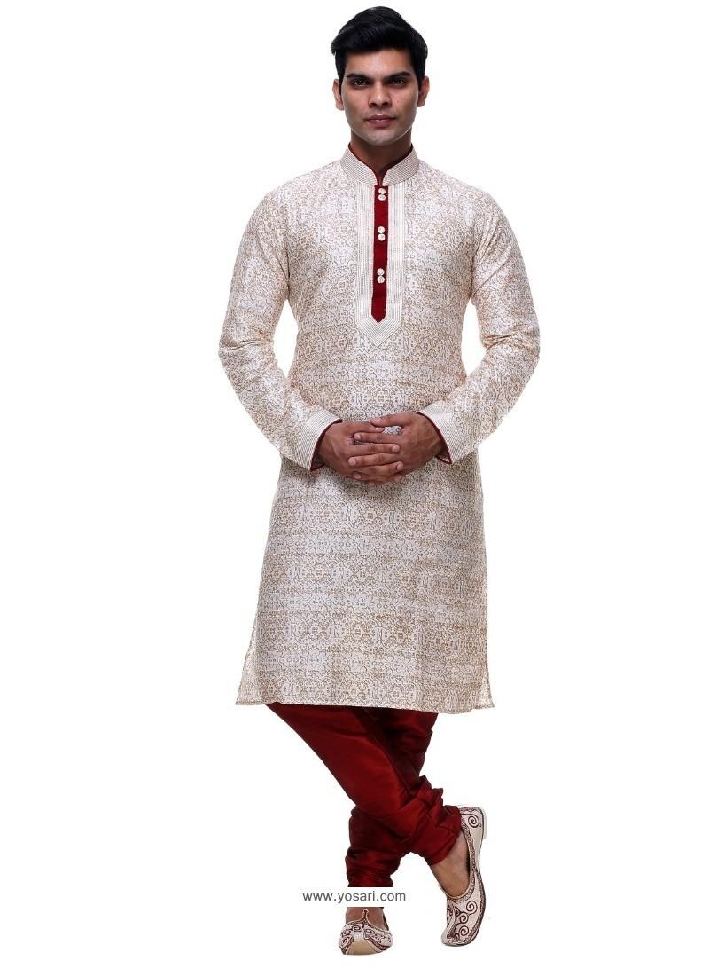Eyeful Off White Silk Kurta Pajama
