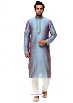 Flawless Tealblue Silk Kurta Pajama