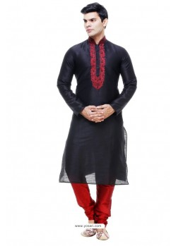 Gorgeous Black Silk Kurta Pajama