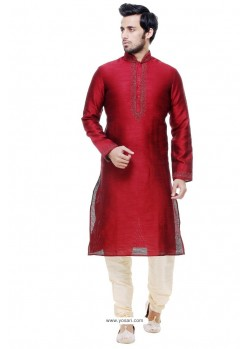 Incredible Wine Silk Kurta Pajama