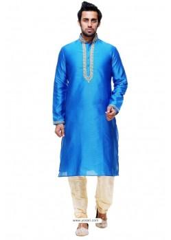Mesmeric Blue Silk Kurta Pajama