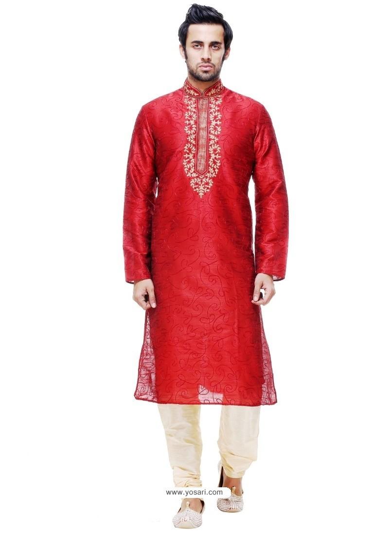 Exceptional Red Silk Kurta Pajama