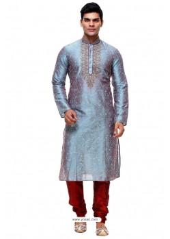 Deserving Grey Silk Kurta Pajama