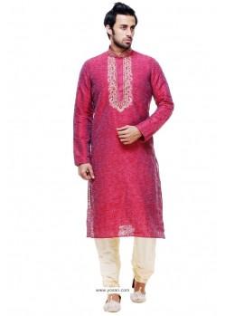 Delightful Crimson Silk Kurta Pajama