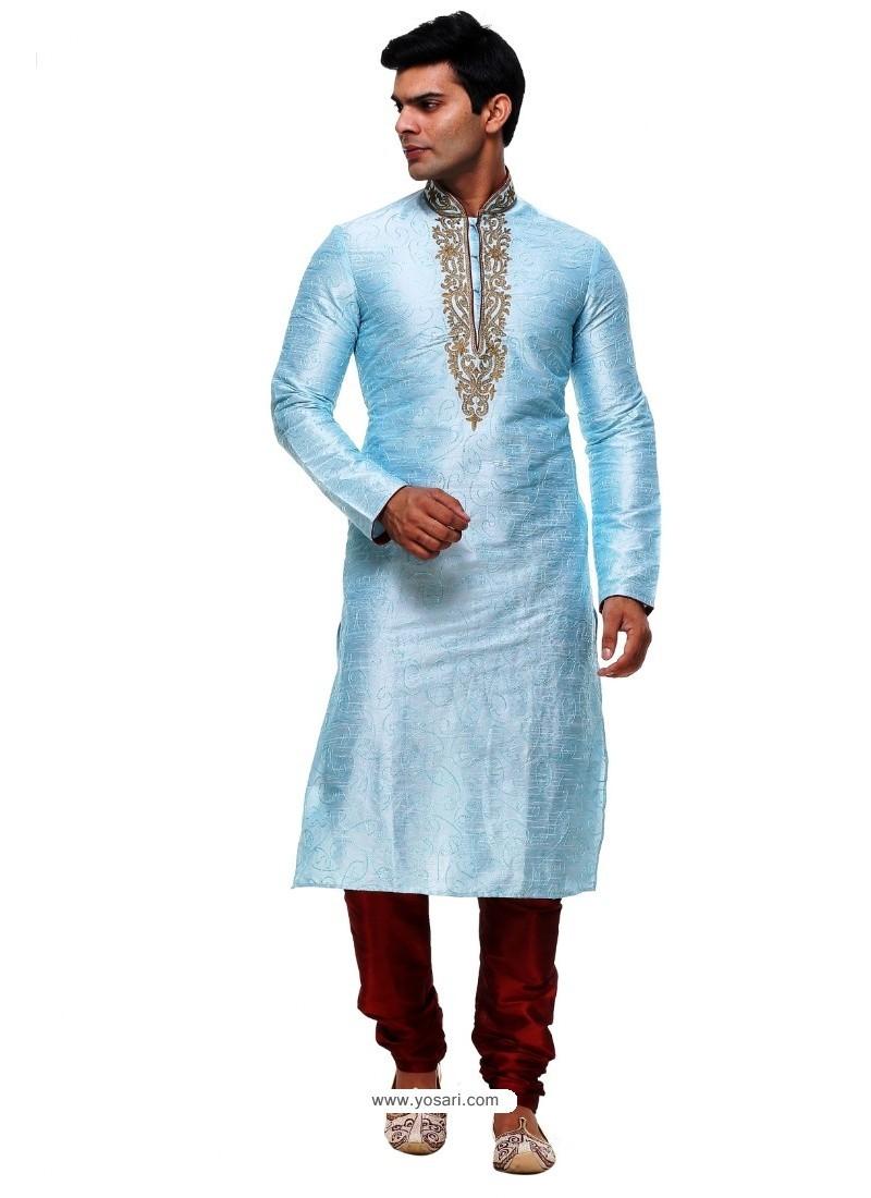 Fantastic Sky Blue Silk Kurta Pajama
