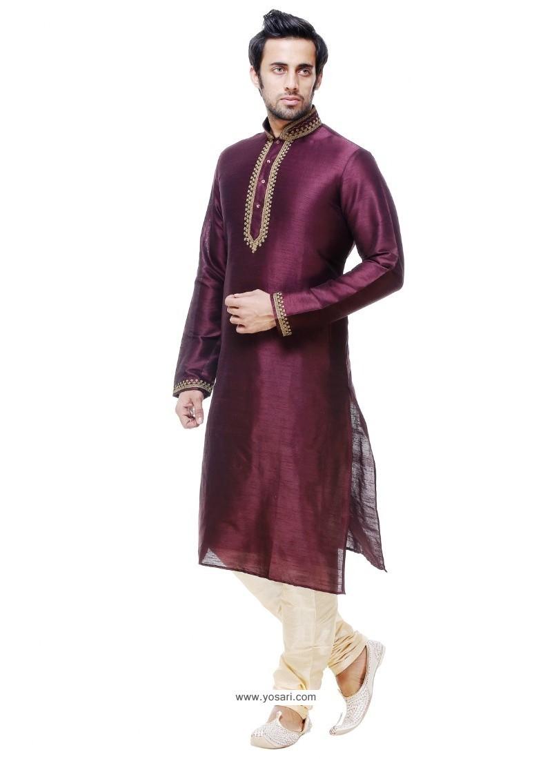 Desirable Maroon Silk Kurta Pajama