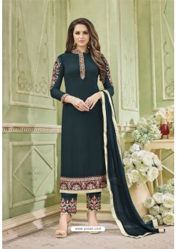 Peacock Blue Faux Georgette Embroidered Suit