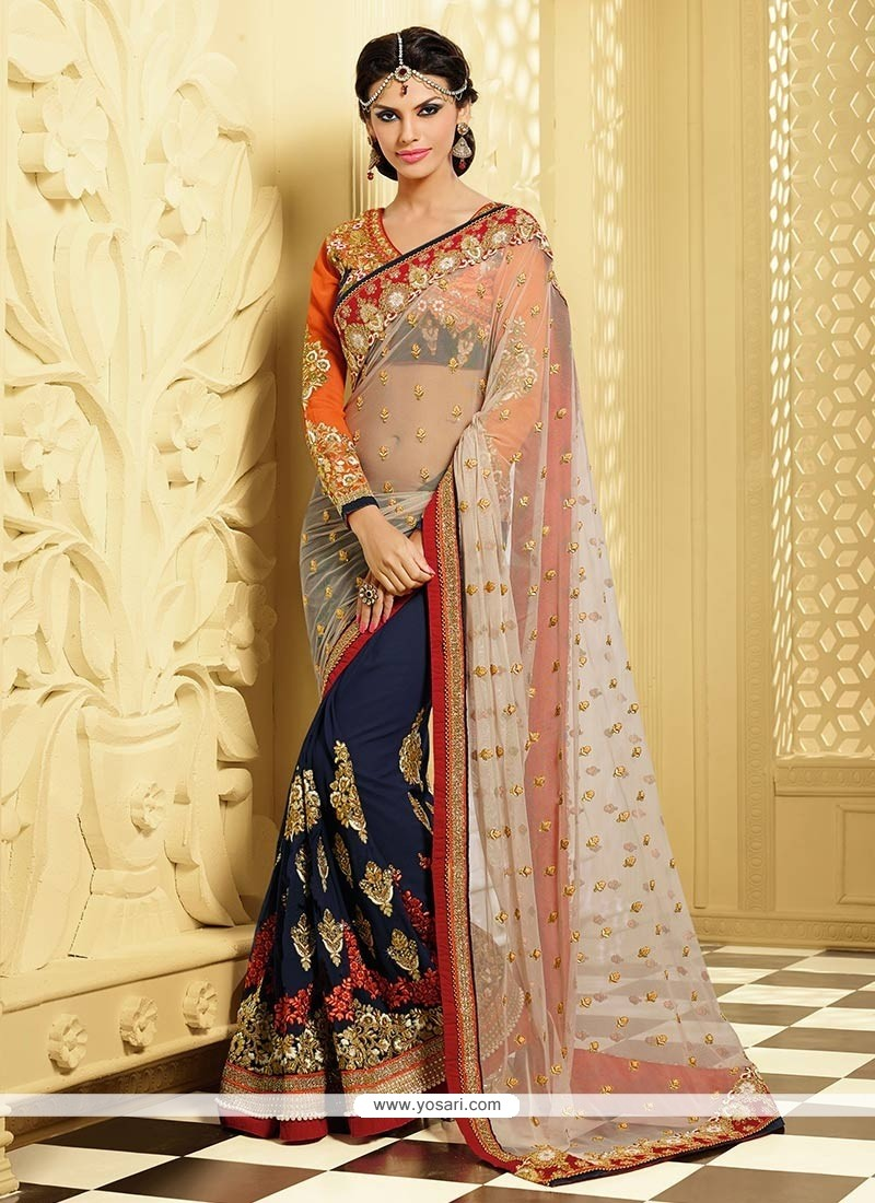 Blue And Cream Shaded Pure Georgette Half And Half Saree