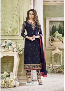 Navy Blue Faux Georgette Embroidered Suit