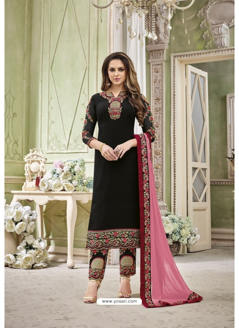 Black Faux Georgette Embroidered Suit