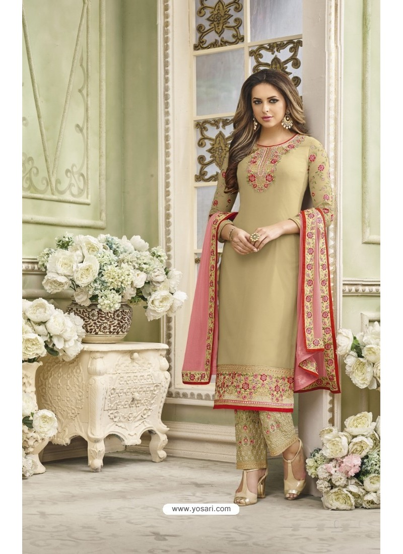 Taupe Faux Georgette Embroidered Suit