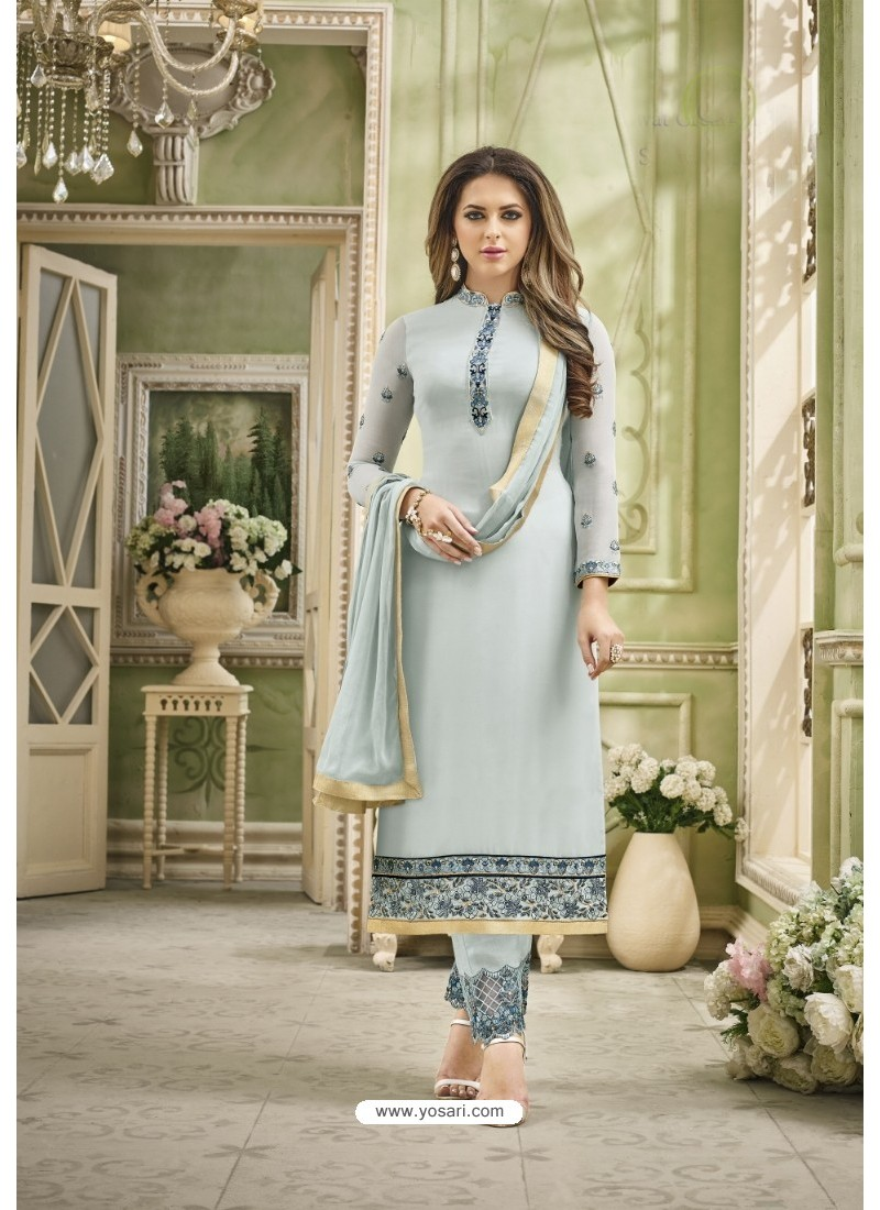 Grey Faux Georgette Embroidered Suit