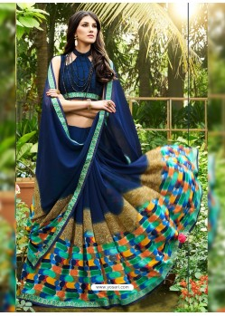 Blue Georgette Casual Saree