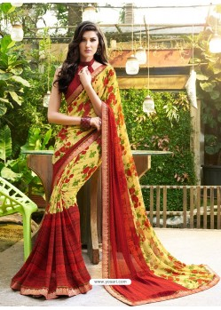 Lemon Georgette Casual Saree
