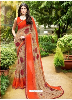Orange Georgette Casual Saree