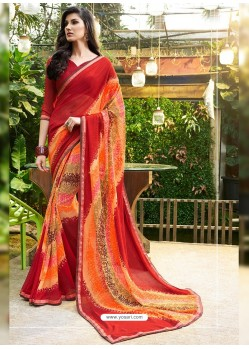 Crimson Georgette Casual Saree