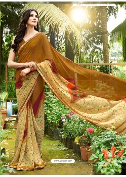 Camel Georgette Casual Saree