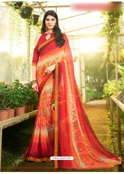 Peach Georgette Casual Saree